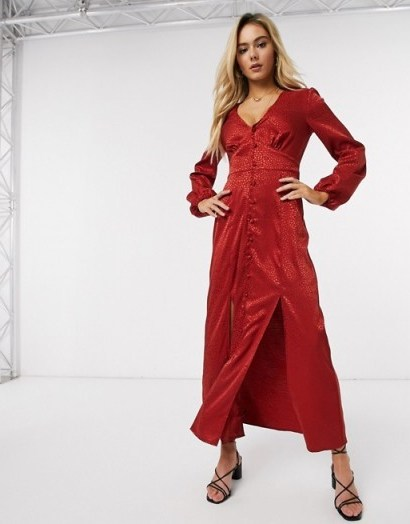 Miss Selfridge satin maxi dress in red – going out fashion - flipped