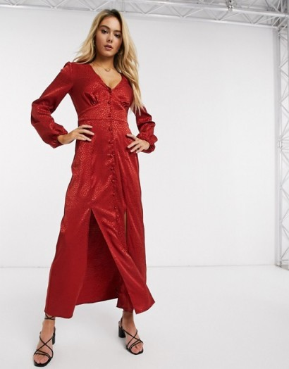 Miss Selfridge satin maxi dress in red – going out fashion