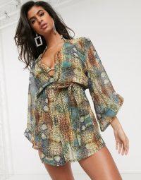 Moda Minx beach kimono in snake print – beachwear – kimonos – cover-ups