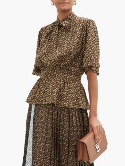 BURBERRY Monogram-print silk blouse ~ gathered waist blouses - flipped