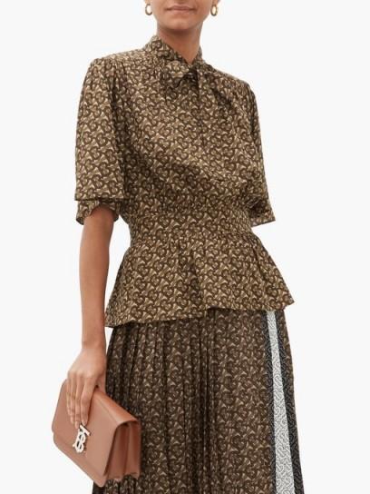 BURBERRY Monogram-print silk blouse ~ gathered waist blouses