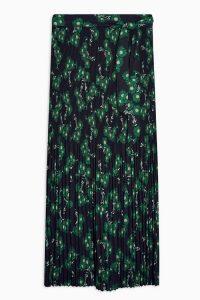 TOPSHOP Multi Floral Print Tie Pleated Midi Skirt / belted skirts