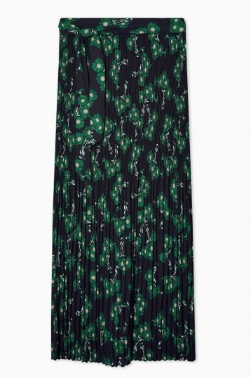 TOPSHOP Multi Floral Print Tie Pleated Midi Skirt / belted skirts - flipped