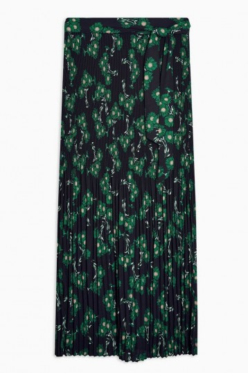 TOPSHOP Multi Floral Print Tie Pleated Midi Skirt / belted skirts