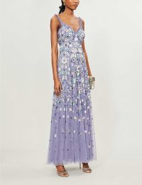 NEEDLE AND THREAD Wildflower floral sequin-embellished tulle gown in bluebell ~ feminine event wear