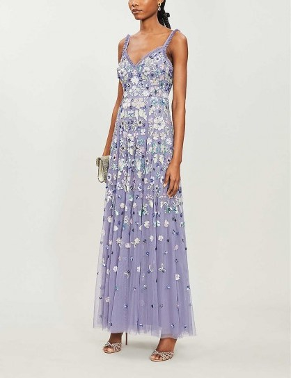 NEEDLE AND THREAD Wildflower floral sequin-embellished tulle gown in bluebell ~ feminine event wear - flipped