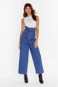 Nasty Gal Never Belt So Good Paperbag Wide-Leg Jeans in vintage blue | ruffled high waist