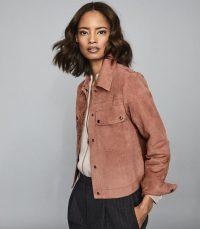 REISS NINA SUEDE TRUCKER JACKET PALE PINK ~ casual lluxury outerwear