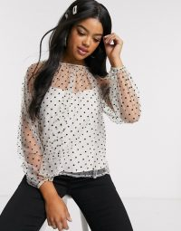 Outrageous Fortune high neck sheer polka mesh top in mono