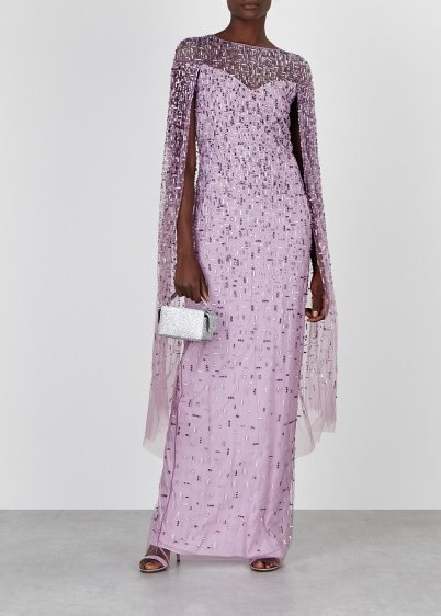 PAMELLA ROLAND Lilac embellished cape-effect tulle gown / dazzling ethereal gowns - flipped