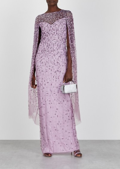 PAMELLA ROLAND Lilac embellished cape-effect tulle gown / dazzling ethereal gowns