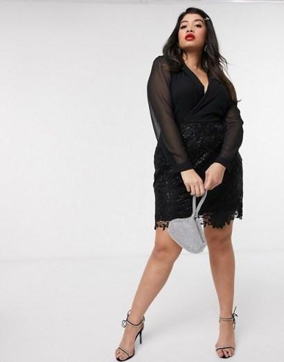 Paper Dolls Plus 2-in-1 tux mini dress in black – lbd - flipped