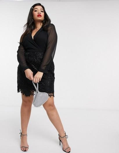 Paper Dolls Plus 2-in-1 tux mini dress in black – lbd