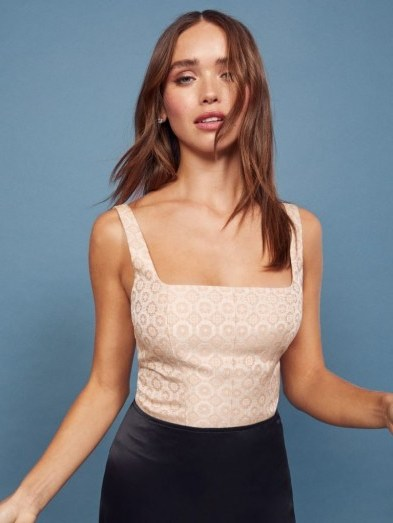REFORMATION Pierce Top in Atelier ~ fitted square neck tops - flipped