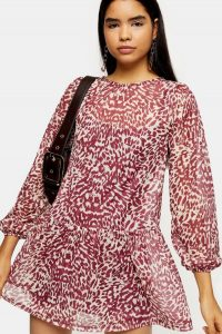 Topshop Pink Animal Print Mesh Mini Dress