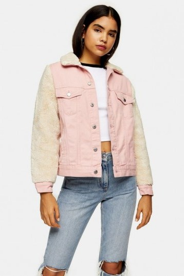 Topshop Pink Denim Borg Sleeve Jacket | fur sleeved jackets - flipped