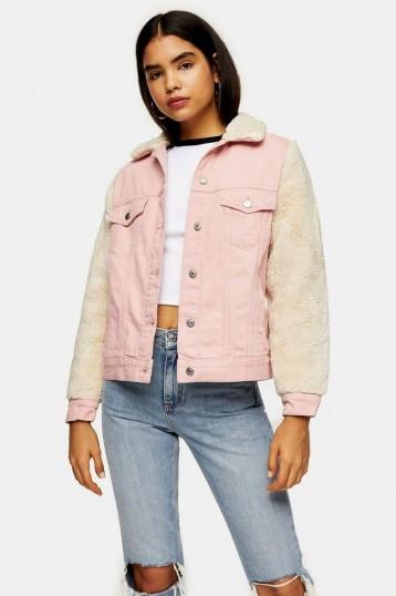 Topshop Pink Denim Borg Sleeve Jacket | fur sleeved jackets
