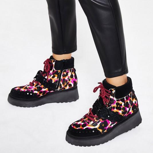 RIVER ISLAND Pink leather leopard flatform hiker boots