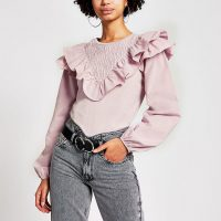 River Island Pink long sleeve frill front blouse | pretty frilly knits