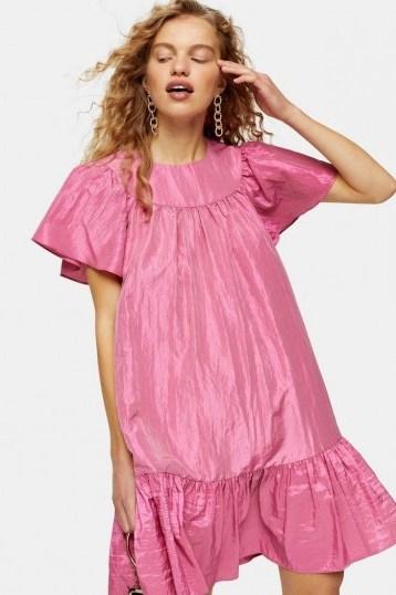 Topshop Pink Taffeta Mini Chuck On Dress | voluminous frill hem dresses - flipped