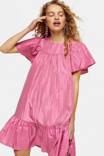 Topshop Pink Taffeta Mini Chuck On Dress | voluminous frill hem dresses