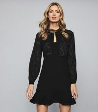 REISS PIPPA BURNOUT DETAIL MINI DRESS BLACK ~ lbd