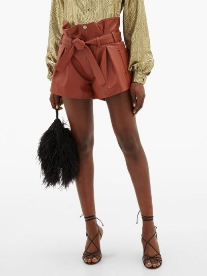 THE ATTICO Pleated high-rise leather shorts in rust-brown - flipped