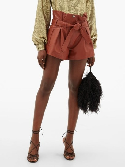 THE ATTICO Pleated high-rise leather shorts in rust-brown