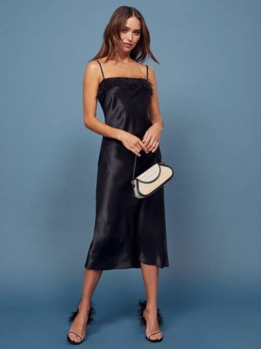REFORMATION Pollina Dress in Black ~ strappy fringed neckline dresses ~ lbd - flipped