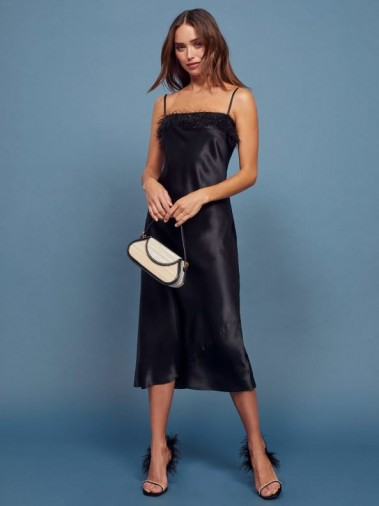 REFORMATION Pollina Dress in Black ~ strappy fringed neckline dresses ~ lbd