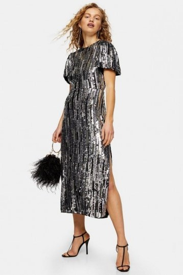 Topshop Premium Silver Puff Sleeve Sequin Midi Dress   occasion glamour - flipped
