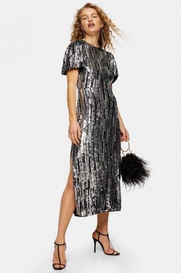 Topshop Premium Silver Puff Sleeve Sequin Midi Dress | occasion glamour