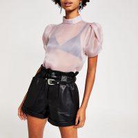 RIVER ISLAND Purple high neck short puff sleeve top – sheer blouses