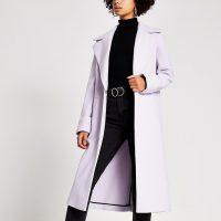 RIVER ISLAND Purple longline single breasted coat – classic style winter coats