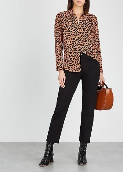 RAILS Katheryn brown jaguar-print shirt
