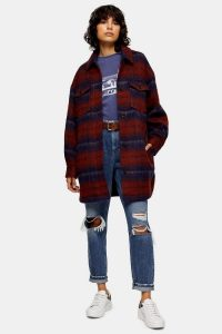 TOPSHOP Red And Blue Check Longline Jacket With Wool / long snugly shacket