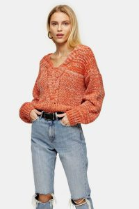 Topshop Red Central Cable V Neck Knitted Jumper | chunky knits