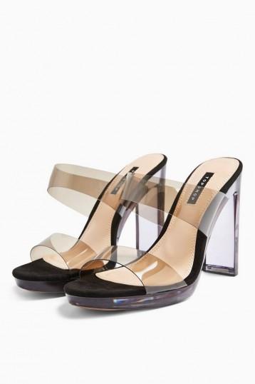 TOPSHOP Black Vinyl Straight Leg Trousers / clear block heels