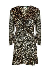 RIXO Lilly leopard-print satin mini dress in black