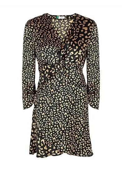 RIXO Lilly leopard-print satin mini dress in black - flipped