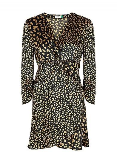 RIXO Lilly leopard-print satin mini dress in black