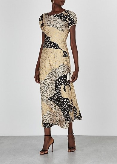 RIXO Reese gold and black leopard-print satin midi dress / patchwork prints - flipped