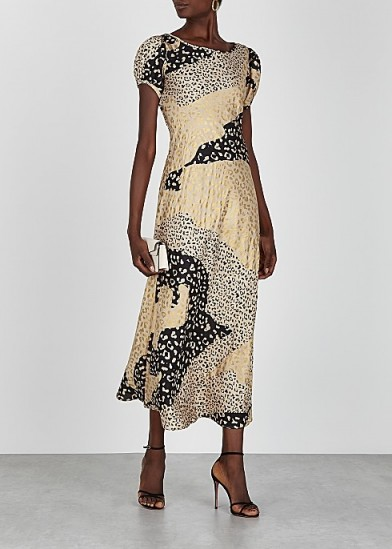 RIXO Reese gold and black leopard-print satin midi dress / patchwork prints