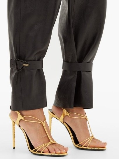 SAINT LAURENT Robin metallic-leather slingback sandals in gold ~ evening glamour - flipped