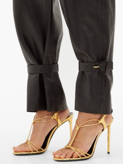 SAINT LAURENT Robin metallic-leather slingback sandals in gold ~ evening glamour