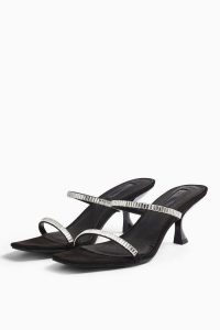 Topshop ROMY Black Diamante Mules | evening kitten heels