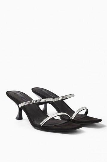 Topshop ROMY Black Diamante Mules | evening kitten heels - flipped