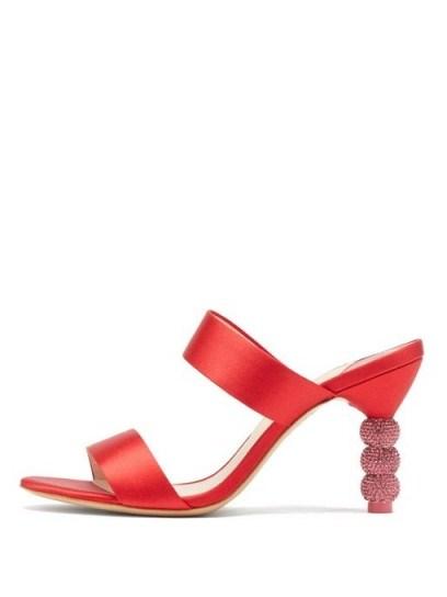 SOPHIA WEBSTER Rosalind crystal-embellished satin mules in red - flipped