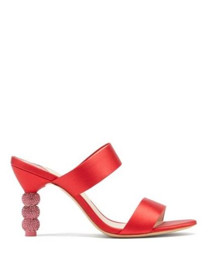 SOPHIA WEBSTER Rosalind crystal-embellished satin mules in red