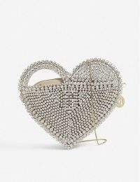 ROSANTICA Regina crystal heart shoulder bag in white stone / sparkling evening bags